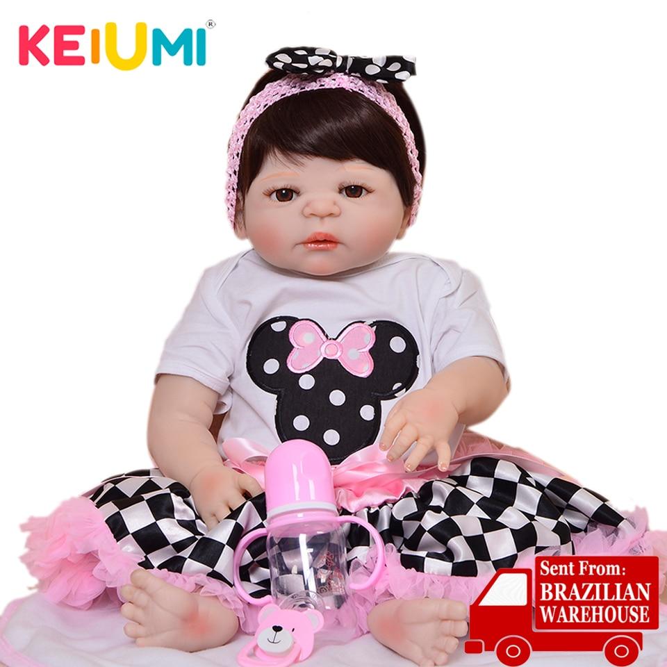 ホット販売 23 インチ女の子遊びリアルなリボーンベビー人形全身シリコーンビニールファッション 2019 子供の日ギフトおもちゃ  グループ上の おもちゃ & ホビー からの 人形 の中 1