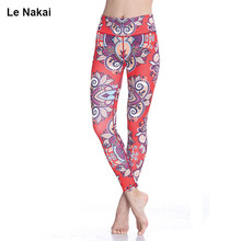 2017 New Red Lotus Print Yoga Leggings High Waist Women Fitness Workout Dance Running Tight Plus