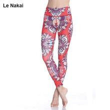 2017 New Red Lotus Print Yoga Leggings High Waist Women Fitness Workout Dance Running Tight Plus Size Sport Leggings
