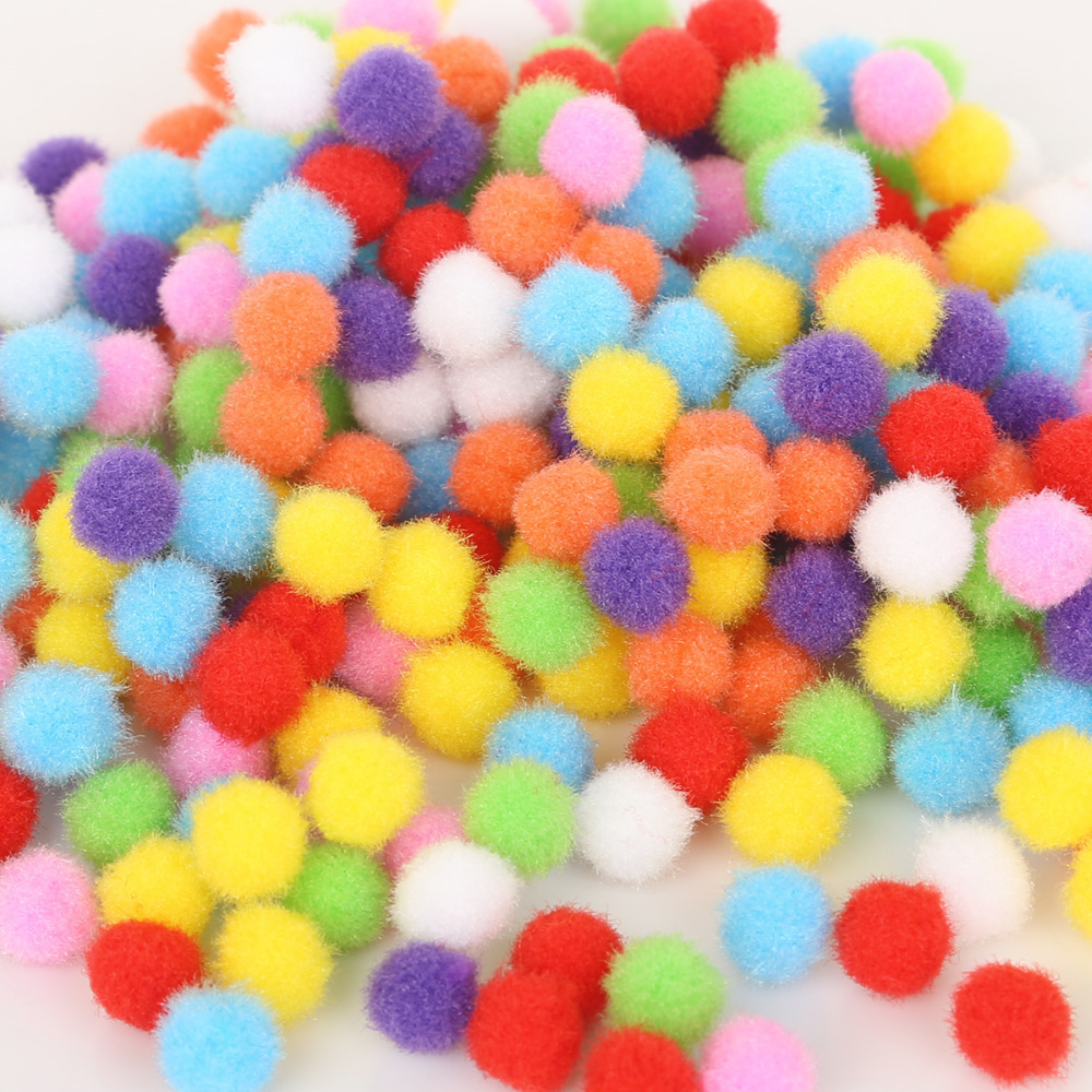 100Pcs/Lot Handmade Pom Fluffy Soft Poms Mini Pompom Ball Colorful Kids Toys Game DIY Sewing Craft Supplies 10/15/20/25/30mm