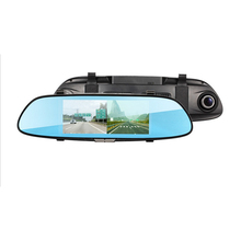 Car DVR Camera 7 inch IPS HD Screen 170 Degree Double Lens Full Glass Night Vision with Rearview Mirror Driving Recorder