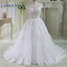 Fashion Ball Gown Wedding Dress 2019 vestido de noiva Cap Sleeves Lace Appliques Beads robe mariee Gowns Bride