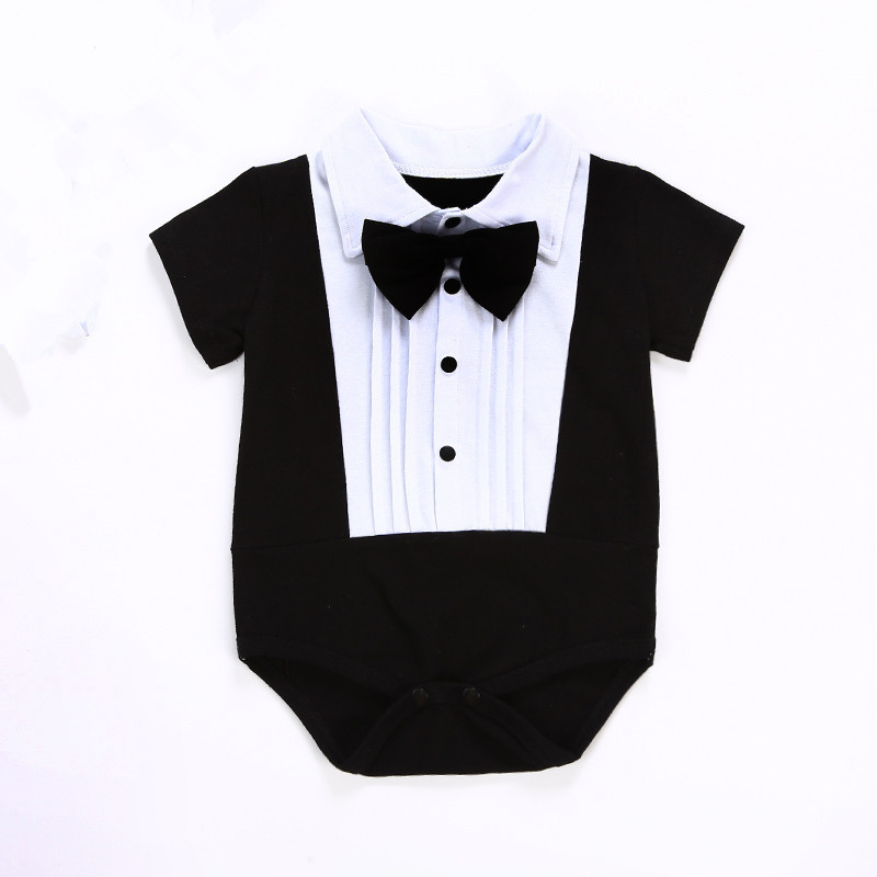1pc baby summer cotton   romper   boy SOft baby newborn baby clothes gentleman jumpsuit bebe   romper