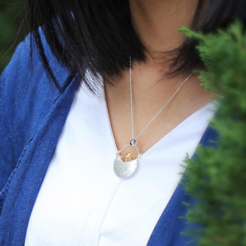 Lotus Fun Real 925 Sterling Silver Handmade Jemné šperky Můj malý zahradní design Přívěsek bez náhrdelníku pro ženy Příslušenství