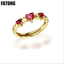 925 sterling silver natural tourmaline, powder crystal heart adjustable ring Female factory outlets. J007
