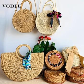 Beach Bag Women Handbag Handmade Woven Straw Fashion Summer Female Rattan Shoulder Handbags Travel Crossbody Bags For Women 2019