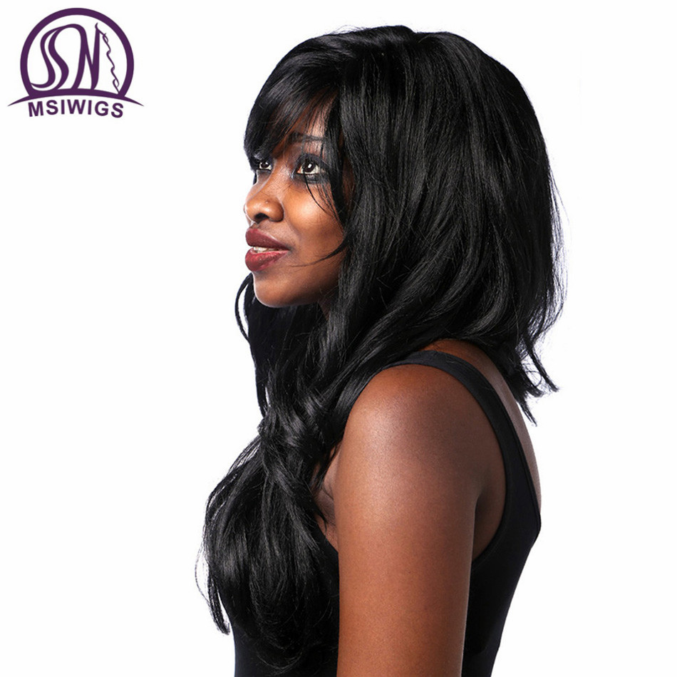 MSIWIGS Synthetic Hair Long Wavy Black Parykar med Bangs American - Syntetiskt hår - Foto 3
