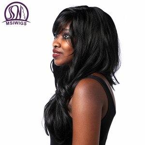 Image 3 - Msiwigs perucas onduladas sintéticas com franja lateral de alta temperatura fibra cabelo preto peruca longa para preto