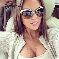 Cat Eye Rimless Brand Designer Fashion Women Sunglasses Lady Female UV400 Sun Glasses Metal Frame Hot