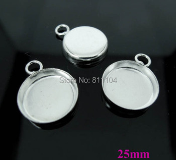 25mm New Silver tone Plated Copper Blank Bases Round Deep Wall Bezel cups w/ loop Cabochon Settings Pendant Blank Bulk Wholesale