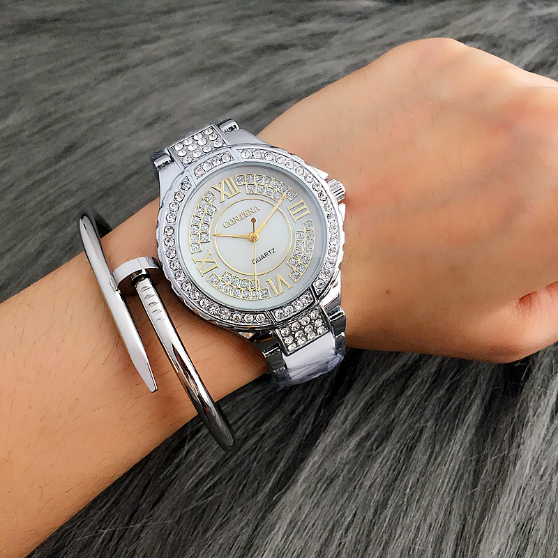 CONTENA Top Brand Luxury Rhinestone Bracelet Watch Women Watches Fashion Silver Quartz Watch Lady Hour montre homme reloj mujer geneva brand fashion rose gold quartz watch luxury rhinestone watch women watches full steel watch hour montre homme reloj mujer