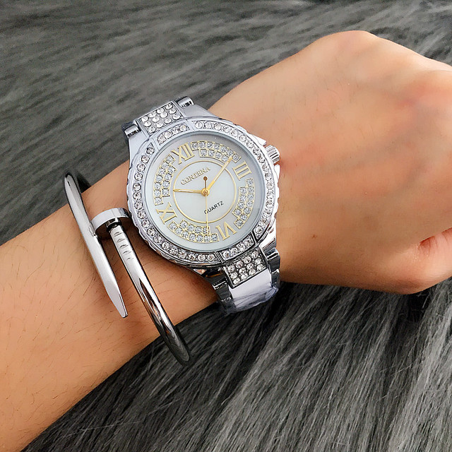 CONTENA Top Brand Luxury Rhinestone Bracelet Watch Women Watches Fashion Silver