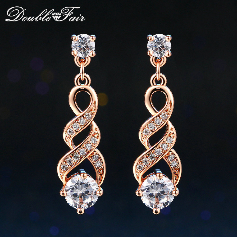 Us 3 32 Doublefair Four Claw 6mm Cubic Zirconia Drop Dangle Wedding Earrings Rose Gold Silver Color Jewelry For Women Dfe544 Dfe725 In