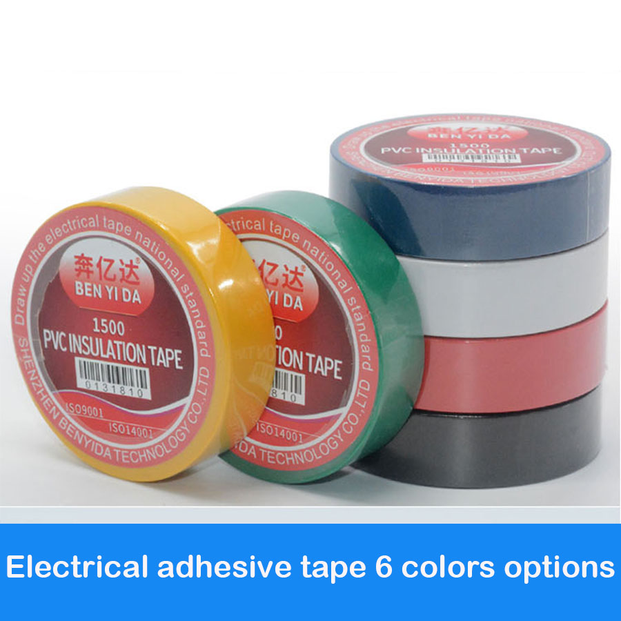 Color electrical tape PVC wear-resistant flame retardant lead-free electrical insulating tape waterproof color tape multi color 1 roll 20m marking tape 100mm adhesive tape warning marker pvc tape
