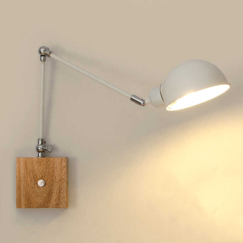 Loft iron wood arm light bedroom bedside stair aisle corridor study lamp folding light living room bra sconce switch wall lights