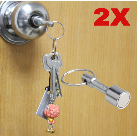 2Pcs NEW Super-Strong Neodymium Pocket Chain Split Ring Keyrings Magnet Holder Hot Sale @M23 inc international concepts new white split neck 2 pocket blouse 16 $69 5 dbfl