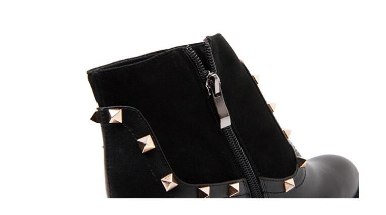 Dedo Con 2019 Redondo Negro Tobillo Cuero Remaches Superior Calidad Botas Pie Del Basic De E Genuino Zapatos Invierno Otoño Mujer aSarqPp