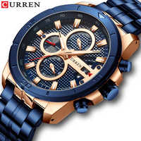 CURREN Gold Watch For Men Luxury Chronograph Full Steel Band Quartz Watch reloj hombre waterproof relogio masculino mens watches