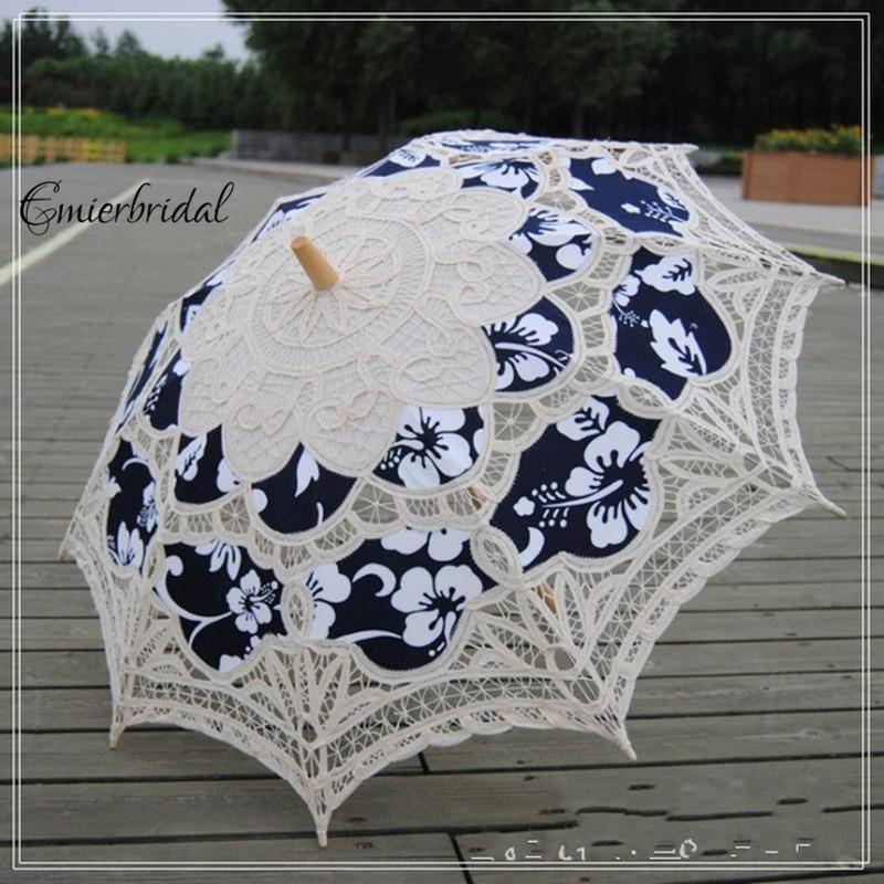 Embroidery Lace Parasol Sun Umbrella Bridal Wedding Dancing Party Decors Fashion