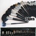 24 Unids Cosmético Profesional Del Maquillaje Suave Cepillo Conjunto Pinceles de Maquillaje + Bolsa de la Caja De Madera Negro
