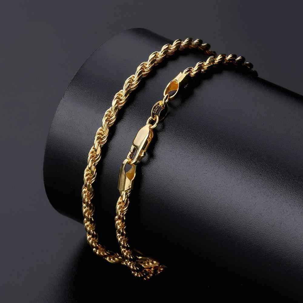 Gucci nowy 925 srebro naszyjnik Bling CZ Iced Out Hip Hop Link łańcucha Franco łańcuch srebrny złoty naszyjnik biżuteria na prezent