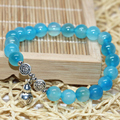Unique design women natural blue agate 8mm round beads fashion strand bracelets free shipping jewelry making 7.5inch B2039