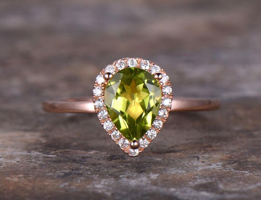 6x8 мм Груша Перидот обручальное кольцо зеленый драгоценный камень Обручение кольцо с покрытием розовым золотом 925 серебро укладки Свадебны