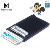 Aluminum Wallet With Back Pocket ID Card Holder Rfid Blocking Mini Slim Metal Wallet Automatic Pop
