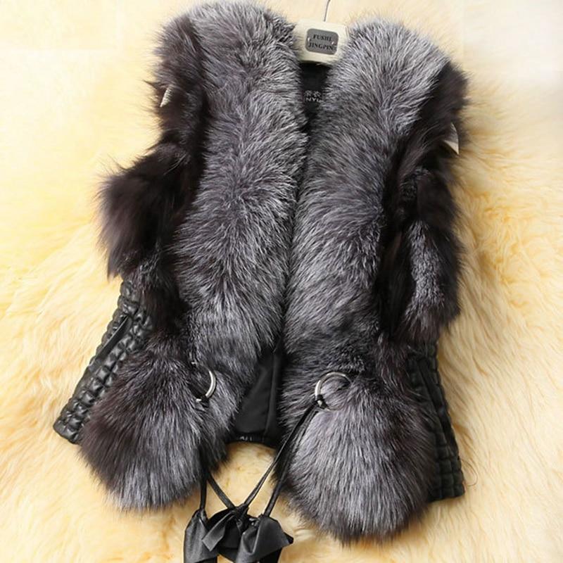 Bontjas Koop Overhaast Brede taille V-hals 2018 Nepbont Vest Warm Winter Vos Pu Jas Jassen Voor Dames Mode Vrouwelijk Hn91