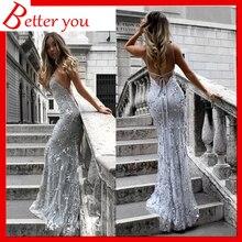 Dresses woman party night sexy V-neck sling dress sequin bodycon elegant long maxi