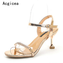 e84502d1388 2018 New Summer Fashion Gold Sandals Woman High Heels Shining Pumps Women s  Shoes Sexy Female Crystal Footwear for Party Dress