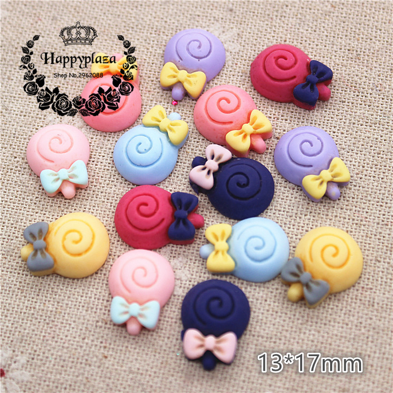 50PCS Mix Colors Cute Resin Imitation Food Small Lollipop Flat Back Cabochon DIY Jewelry/Craft Scrapbook Decoration,13*17mm