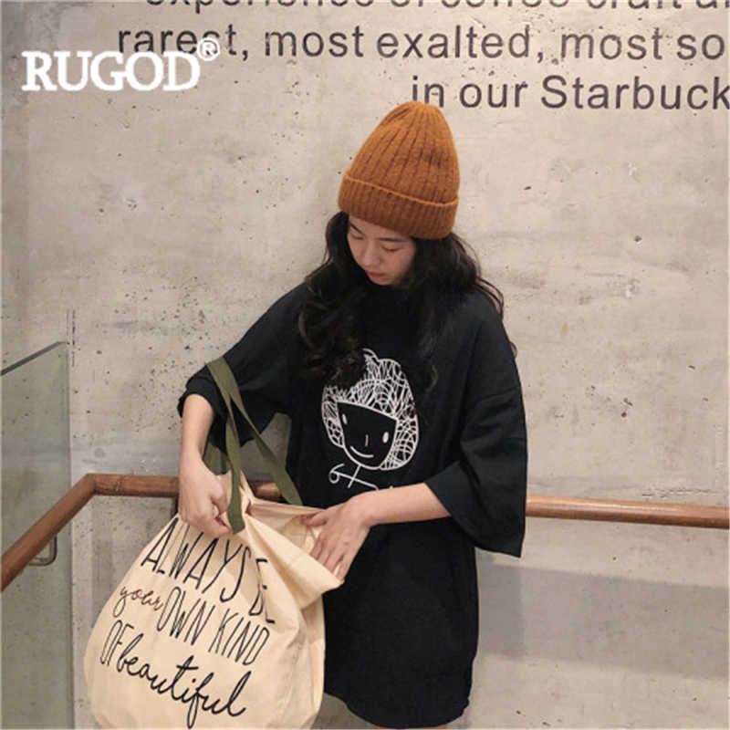 RUGOD ผู้หญิงเสื้อยืด O - Neck พิมพ์การ์ตูนพิมพ์สั้นแขนยาวสไตล์สบายๆ Tee