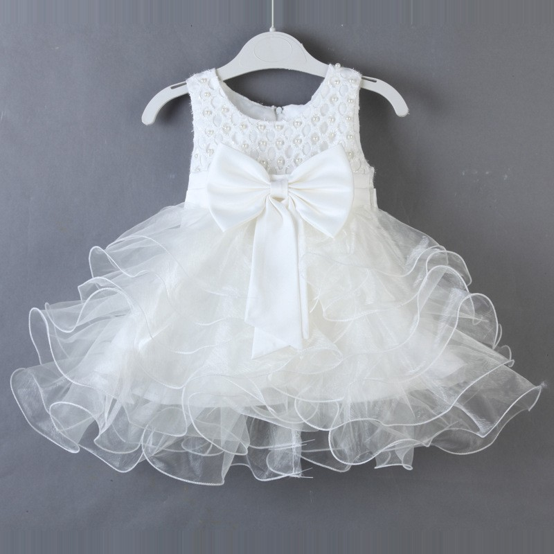 479ca1702a81a Summer baby dresses 1 year girl baby birthday dress bow pearl princess baby  girl party dress christening gown baby baptism dress-in Dresses from Mother  ...