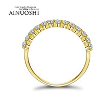 10K Yellow Solid Gold Women's Ring Row Drilling Sona Simulated Diamond Engagement Wedding Ring New Hot Best Quality Fashion Ring