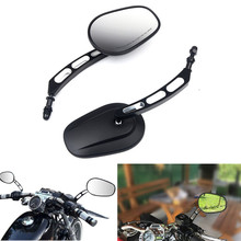 Triclicks Motorcycle Billet Aluminum 8MM End Side Rearview Mirrors Motorbike Left&Right Rear View Mirror New For Harley 1982-Up
