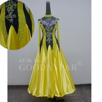 standard ballroom dance competition dresses women long sleeve dress waltz dress goodanpar costume lemoncolored navy