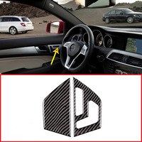 Real Carbon Fiber For Mercedes Benz C Class W204 C180 C200 C260 2007 2013 Button Panel Frame Stickers Left Hand Drive