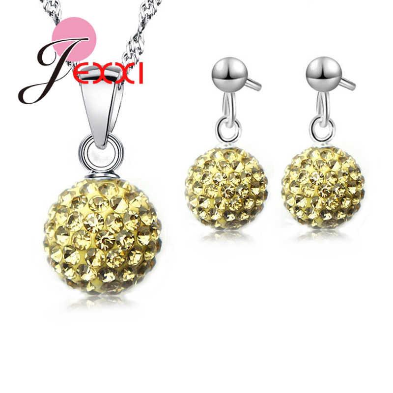 11 farben Mode Frauen 925 Sterling Silber Halskette Anzüge Paar Geschenke Ohrringe set Anhänger Halsketten für Frau Geschenk Heißer