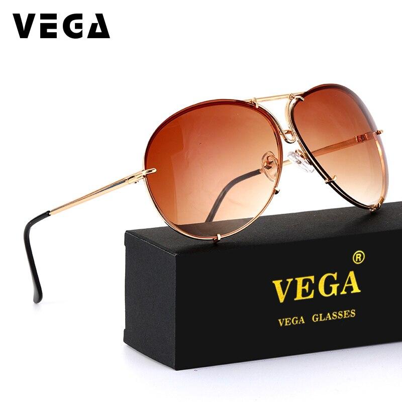 VEGA Lunettes Surdimensionné Pilote lunettes de Soleil Femmes Dames Grand Soleil lunettes Sans Monture Femmes UV400 Pilote lunettes de Soleil Marque VG11