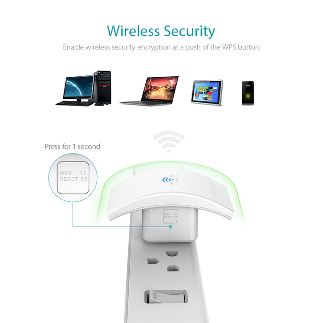N300 Wall Mounted Wireless Range Extender Signal Booster Support Access Point AP / Repeater Mode 2.4GHz 300Mbps with 2 Antennas