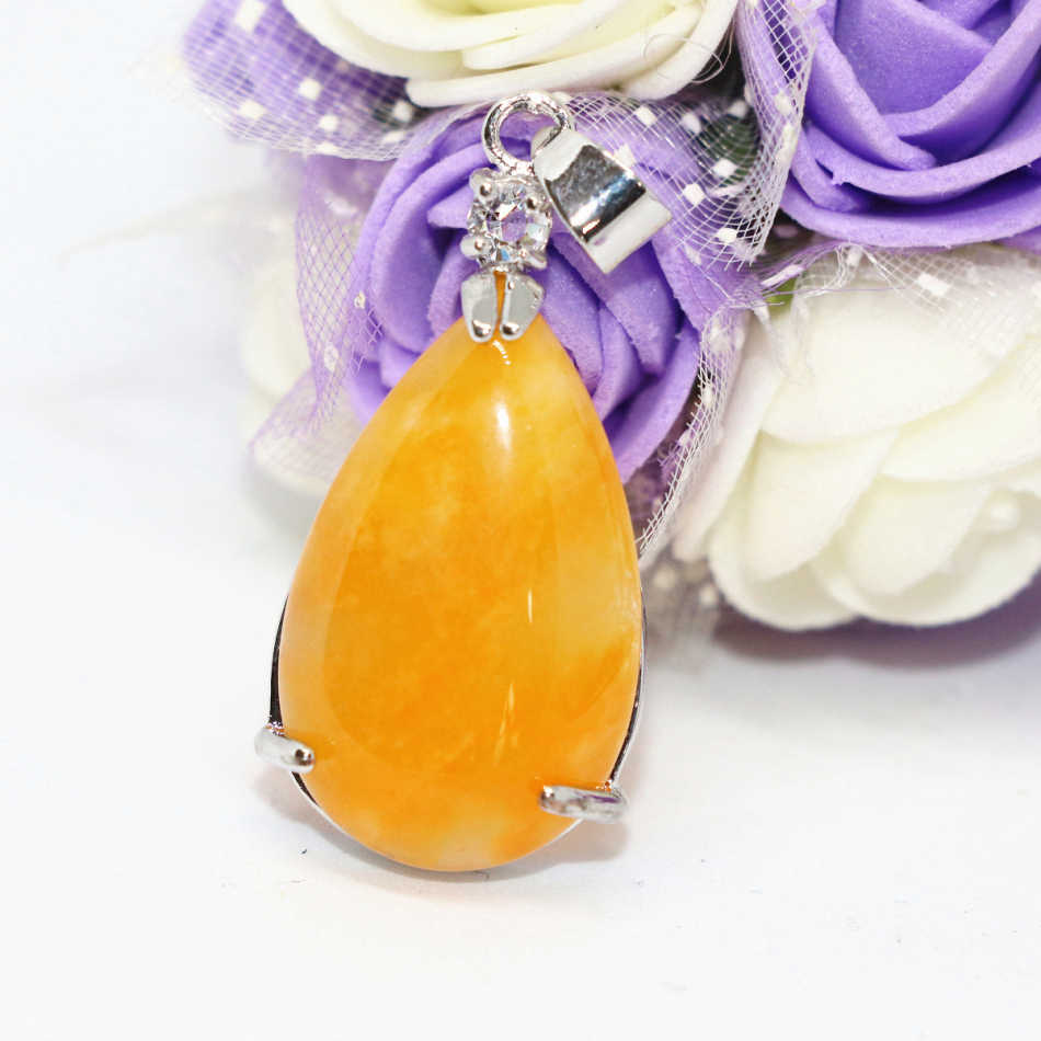 New fahsion teardrop yellow jade jasper pendant high quality charms women elegant accessories silver plated jewelry B1850