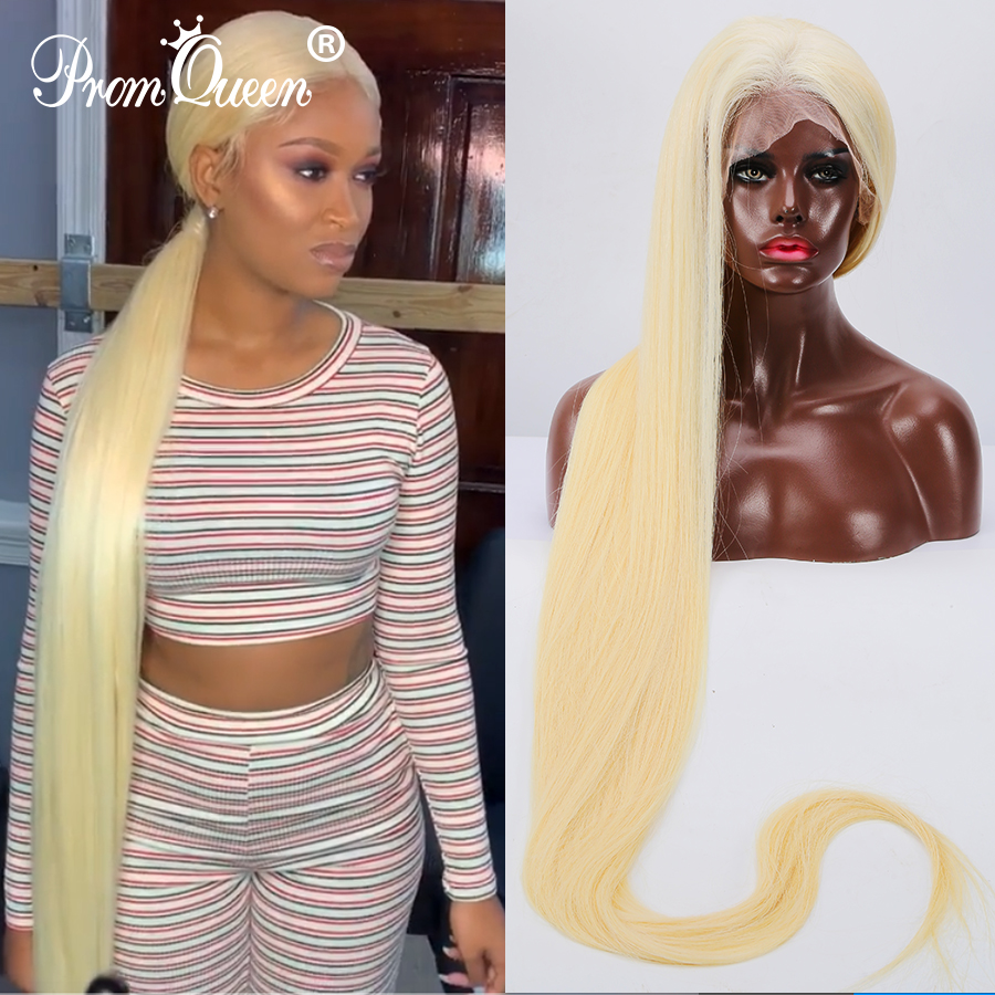 12 40 Inch 42 Inch Long Hair Full Lace Wig Brazilian Straight Wig Human Hair Wigs #613 Blonde Hair Pre Plucke Glueless For Woman