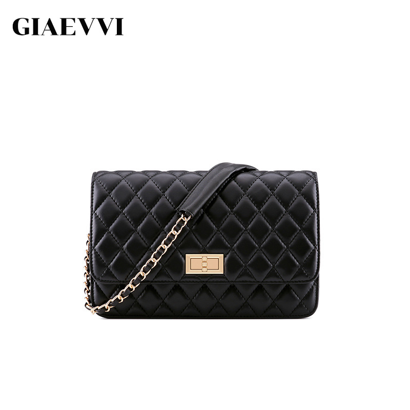 GIAEVVI Brand Women Genuine Leather Handbag Designer Shoulder Small Flap Bag Crossbody for Girls Casual Messenger Chain Bags giaevvi women leather handbag small flap clutch genuine leather shoulder bag diamond lattice for grils chain crossbody bags