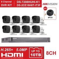 HIK 8CH DVR комплект Гибридный 8 каналов видео регистратор системы наблюдения DS 7208HUHI K1 5MP пуля аналоговая камера для безопасности DS 2CE16H0T IT3F