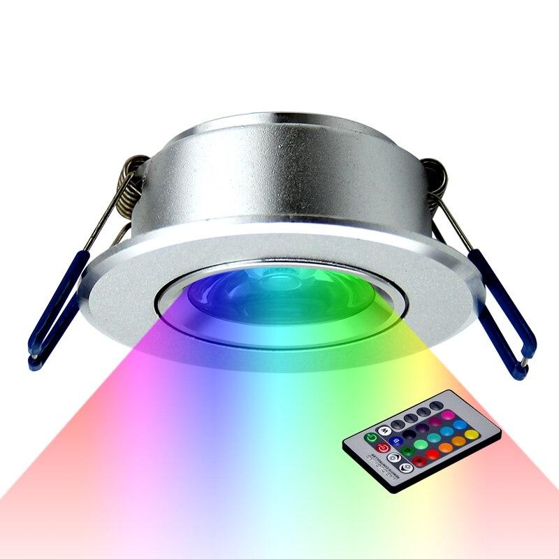 LED tavan lambası aşağı ışıkları 3W RGB uzaktan gömme ampuller AC220V 3W Downlight doğum günü partisi renkli ışıklar