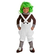 2017 chegada nova criança fábrica de chocolate trabalhador cosplay trajes do bebê meninos meninas traje crianças roupa vestir se