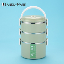 LANSKYWARE Stainless Steel Thermal Lunch Box With Microwave Container Japanese Bento For Kids Fruits Food Containers
