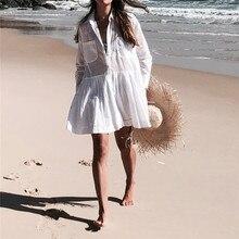 94ec20f05cf Plus Size Cotton Beach Cover up Women Tunic Summer Ladies Beachwear Sexy Swim  Dress Swimsuit With