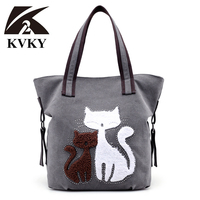 KVKY New Literary Wind Fashion Women S Canvas Bag Handbag Cute Cat Tote Bag Lady Canvas